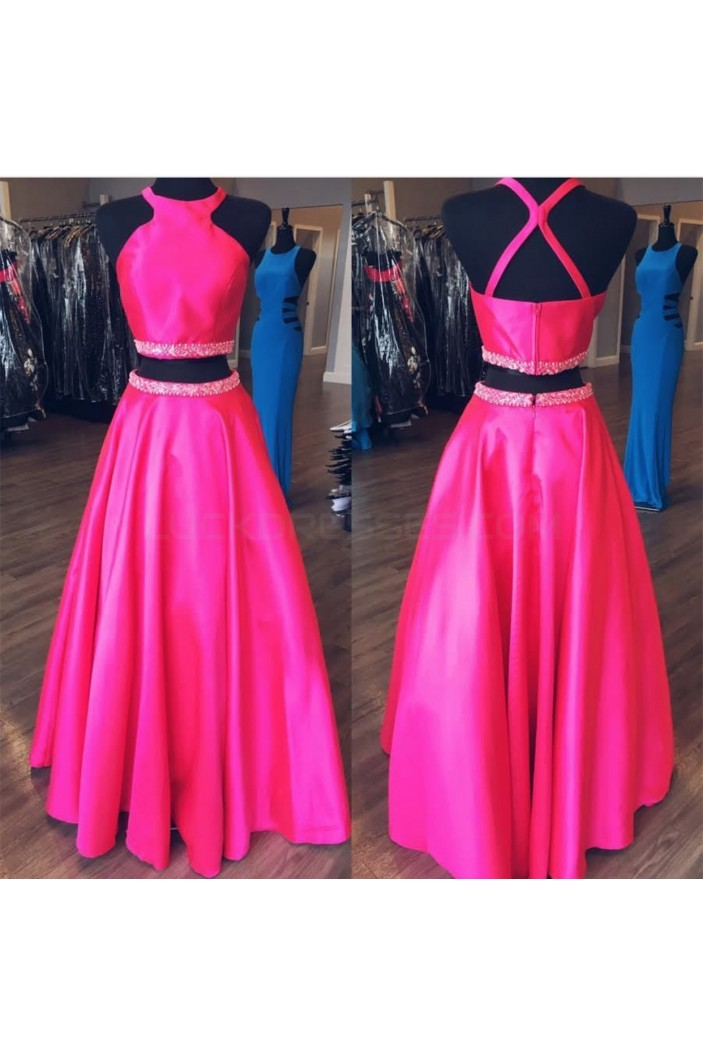A-Line Beaded Two Pieces Prom Formal Evening Party Dresses 3021438