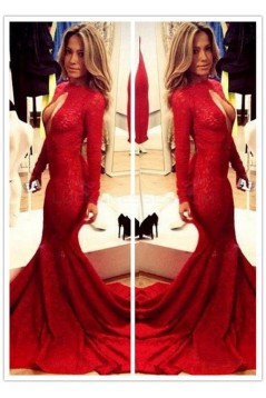 Red Mermaid Lace Long Sexy High Neck Prom Evening Formal Dresses 3020144