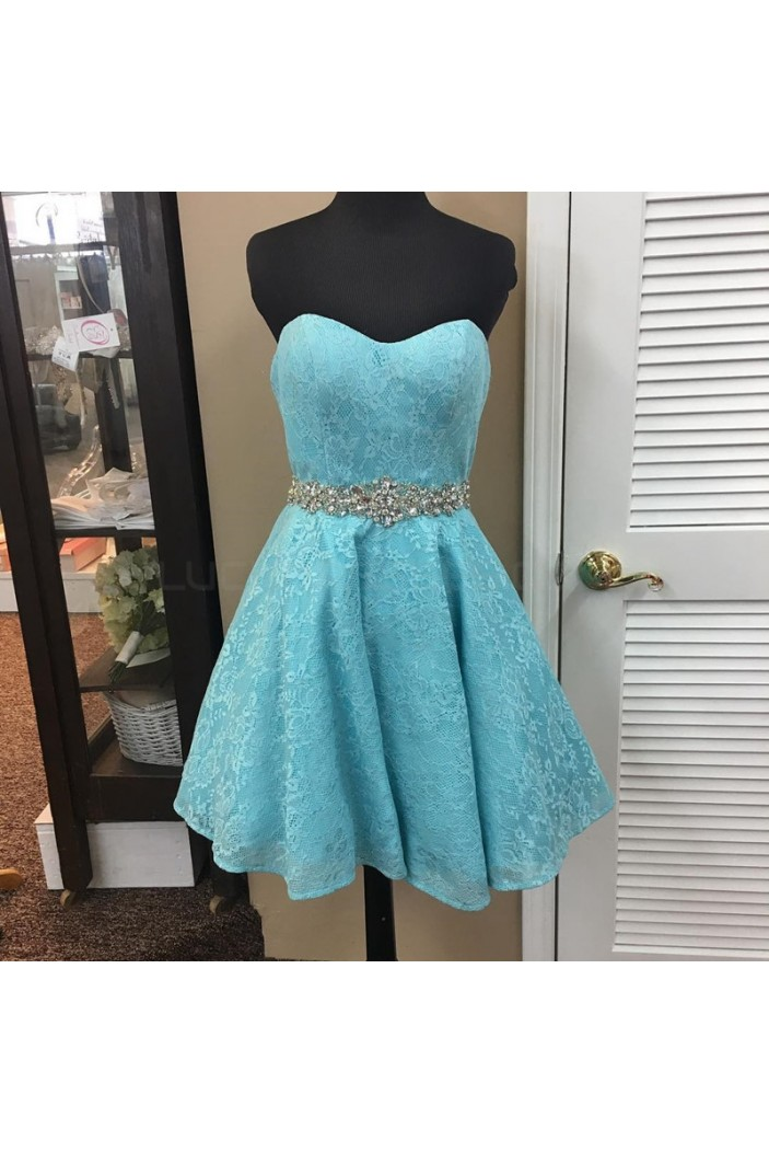 Short Blue Beaded Lace Prom Homecoming Cocktail Graduation Dresses 3021440