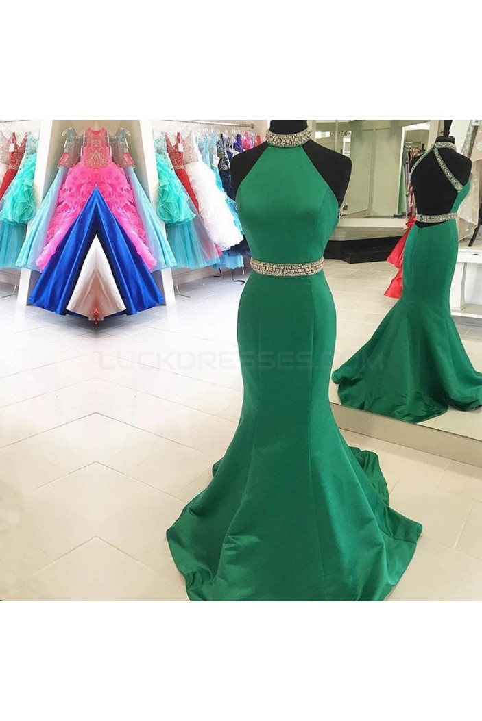 Long Green Beaded Mermaid Prom Formal Evening Party Dresses 3021442