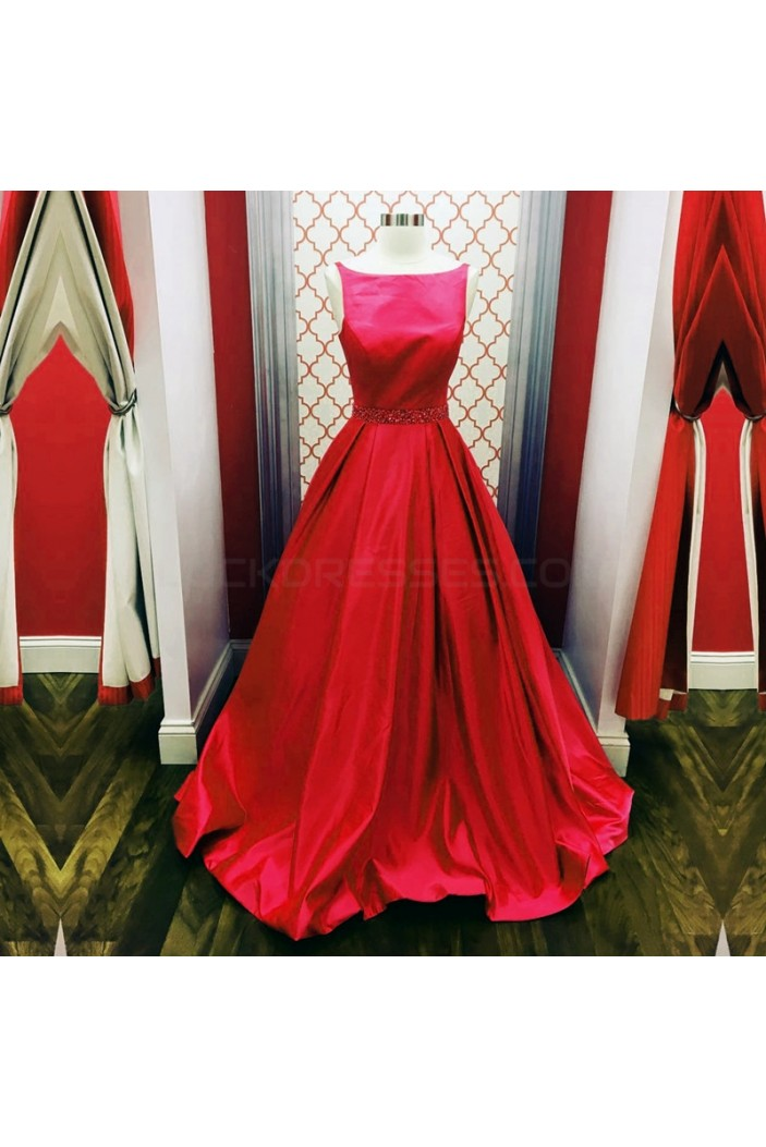 Long Red Beaded Prom Formal Evening Party Dresses 3021444