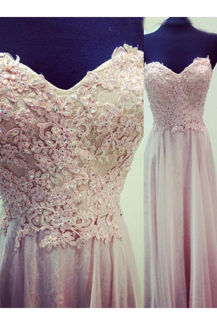 Lace Appliques Sweetheart Long Prom Evening Formal Dresses 3020145