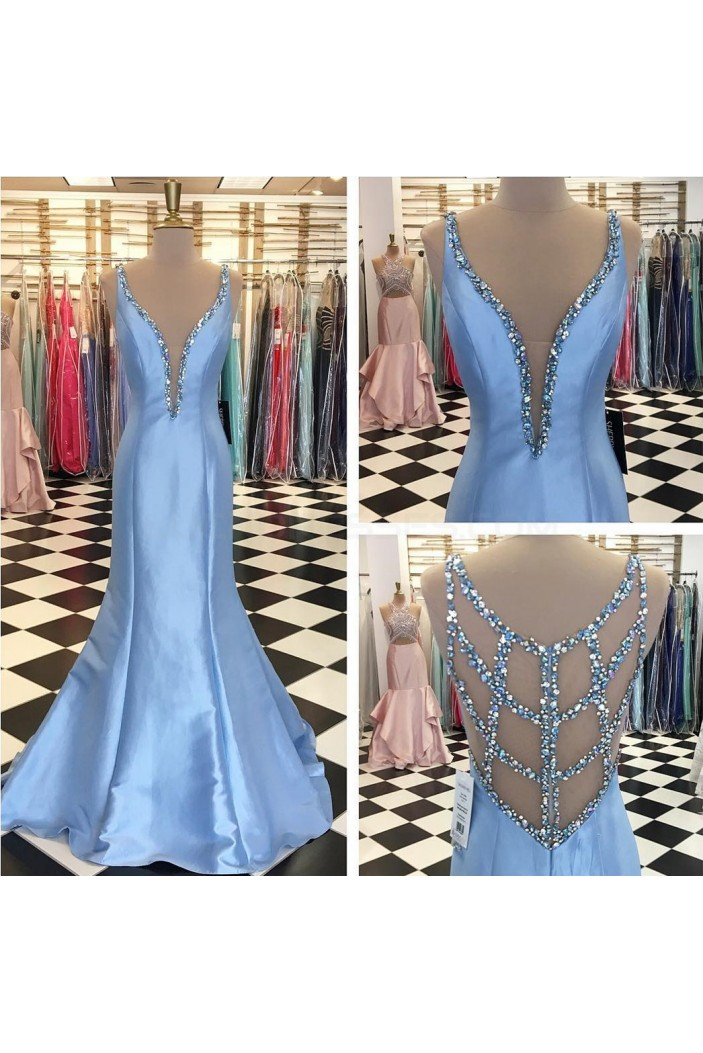 Long Blue Beaded Mermaid Prom Formal Evening Party Dresses 3021450