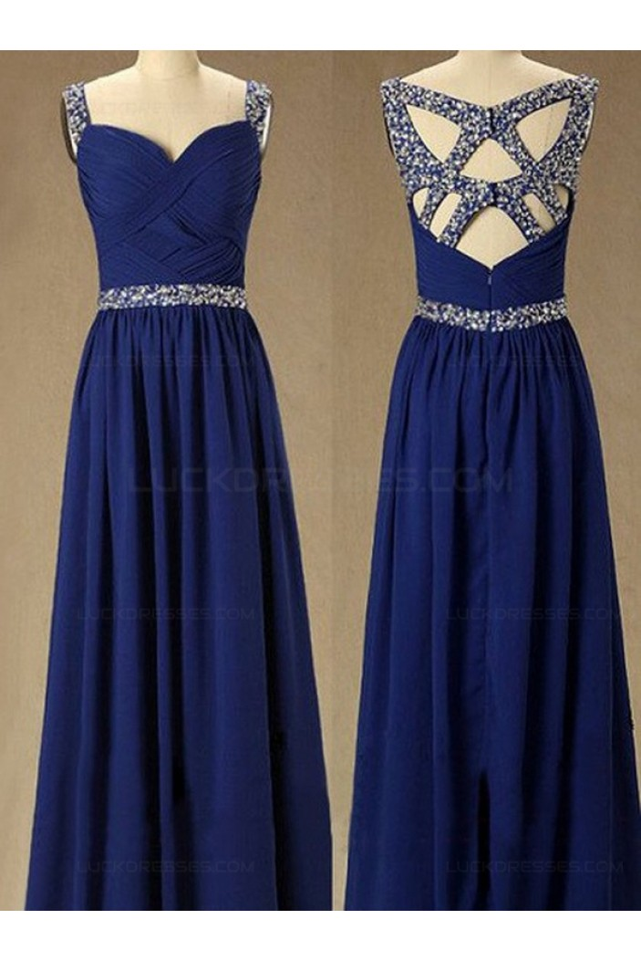 Long Royal Blue Beaded Straps Sleeveless Chiffon Prom Evening Formal Dresses 3020146