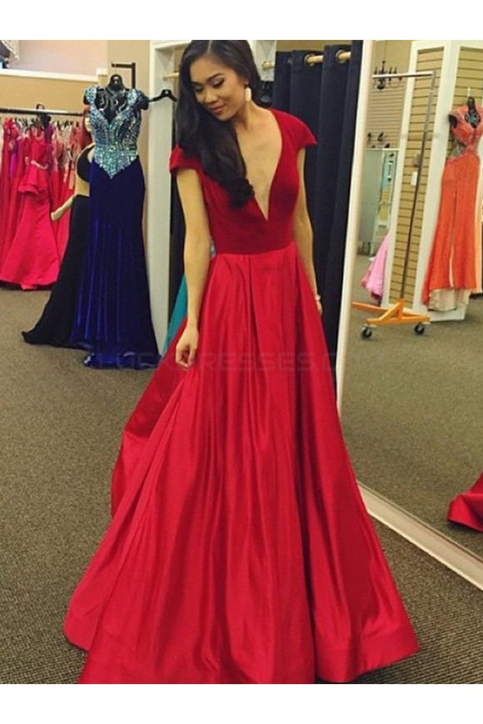 A-Line Long Red V-Neck Cap Sleeves Prom Formal Evening Party Dresses 3021462
