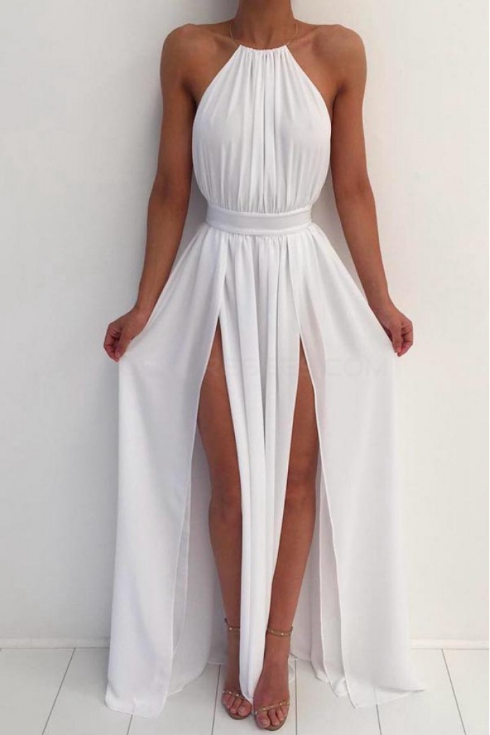 Long White Chiffon Prom Formal Evening Party Dresses 3021469