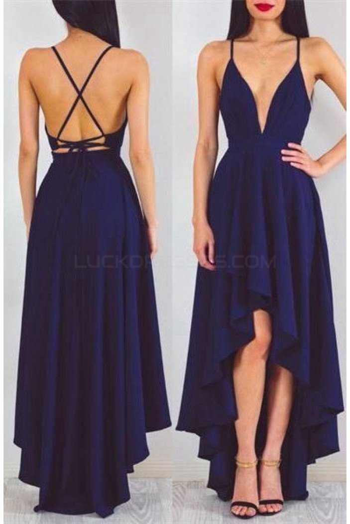 High Low V-Neck Spaghetti Straps Blue Prom Formal Evening Party Dresses 3021470