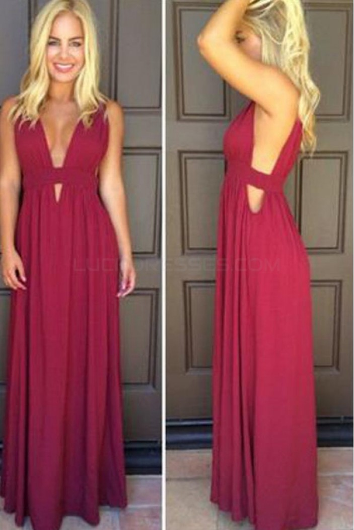 Long V-Neck Chiffon Prom Formal Evening Party Dresses 3021478