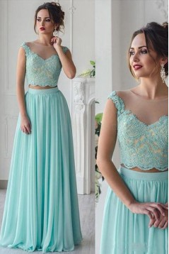 Long Blue Two Pieces Lace Chiffon Prom Formal Evening Party Dresses 3021481