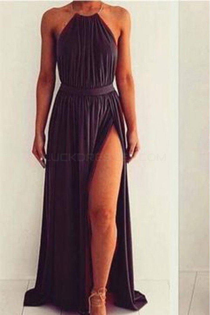Long Halter Prom Formal Evening Party Dresses with Slit 3021482