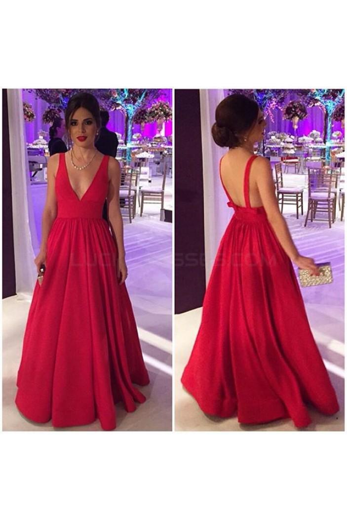 A-Line V-Neck Long Prom Formal Evening Party Dresses 3021483