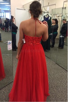 Long Red Halter Lace Chiffon Prom Formal Evening Party Dresses 3021485