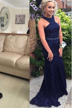 Mermaid Long Blue Beaded Lace Prom Formal Evening Party Dresses 3021486