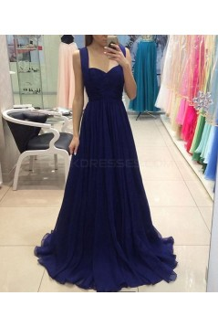 Long Blue Chiffon Prom Formal Evening Party Dresses 3021487