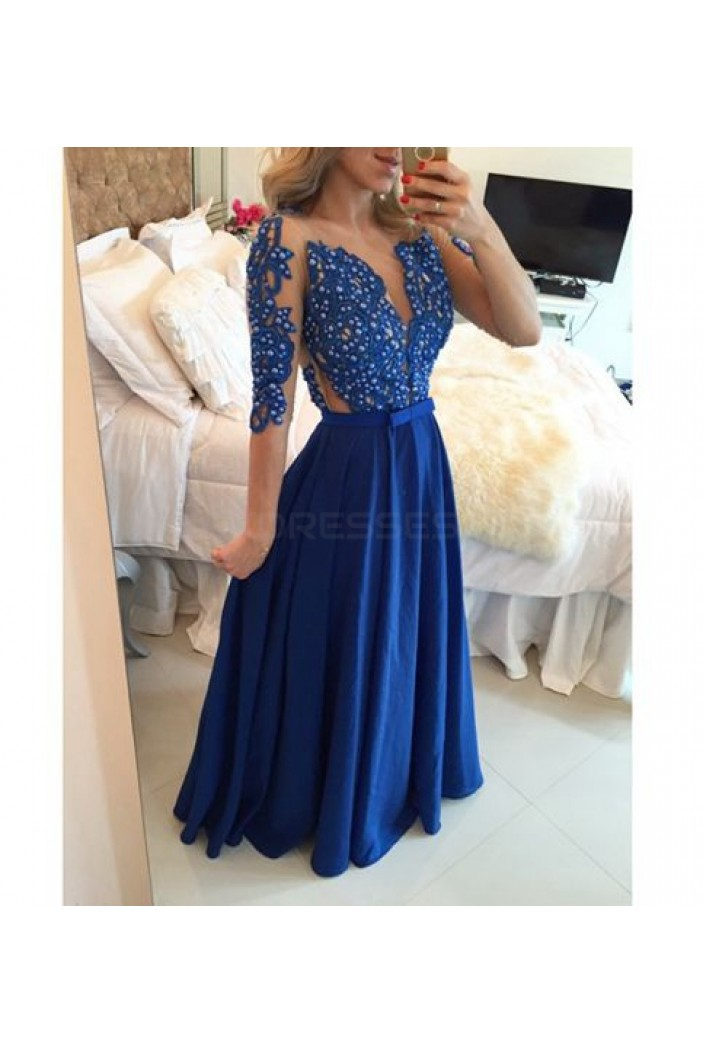 A-Line Long Blue Beaded Lace Prom Formal Evening Party Dresses 3021489