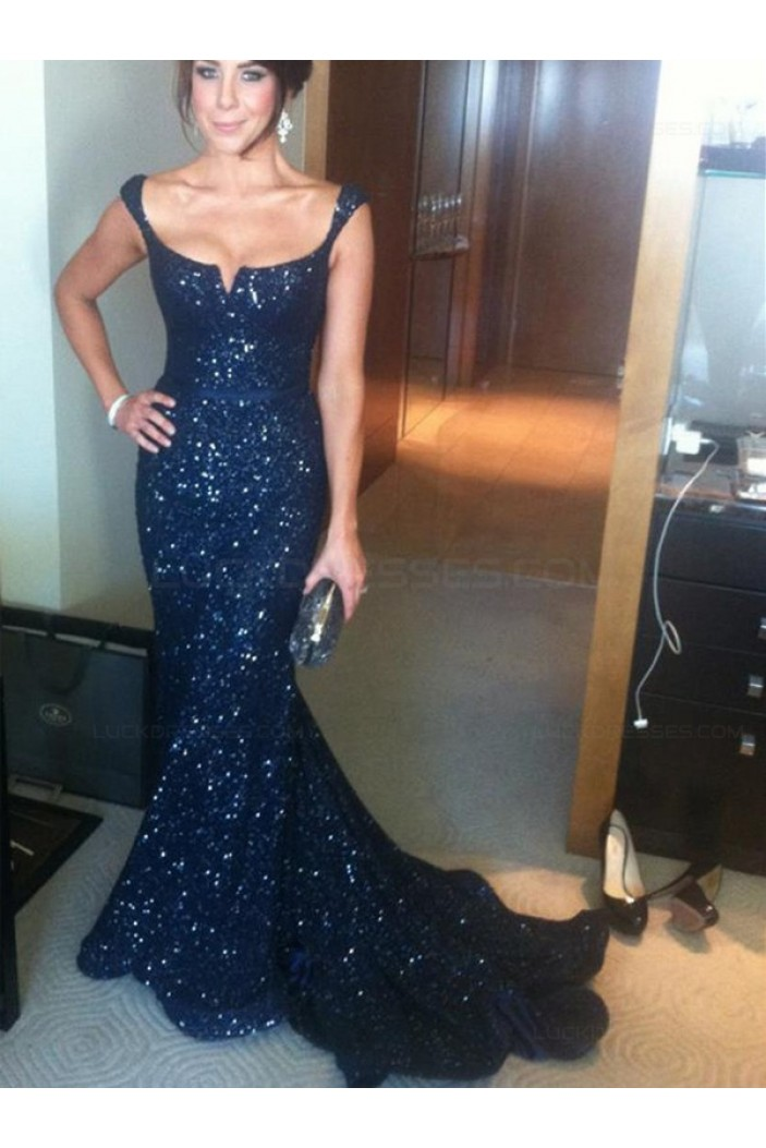 Navy Blue Mermaid Sequins Straps Sleeveless Long Prom Evening Formal Dresses 3020149