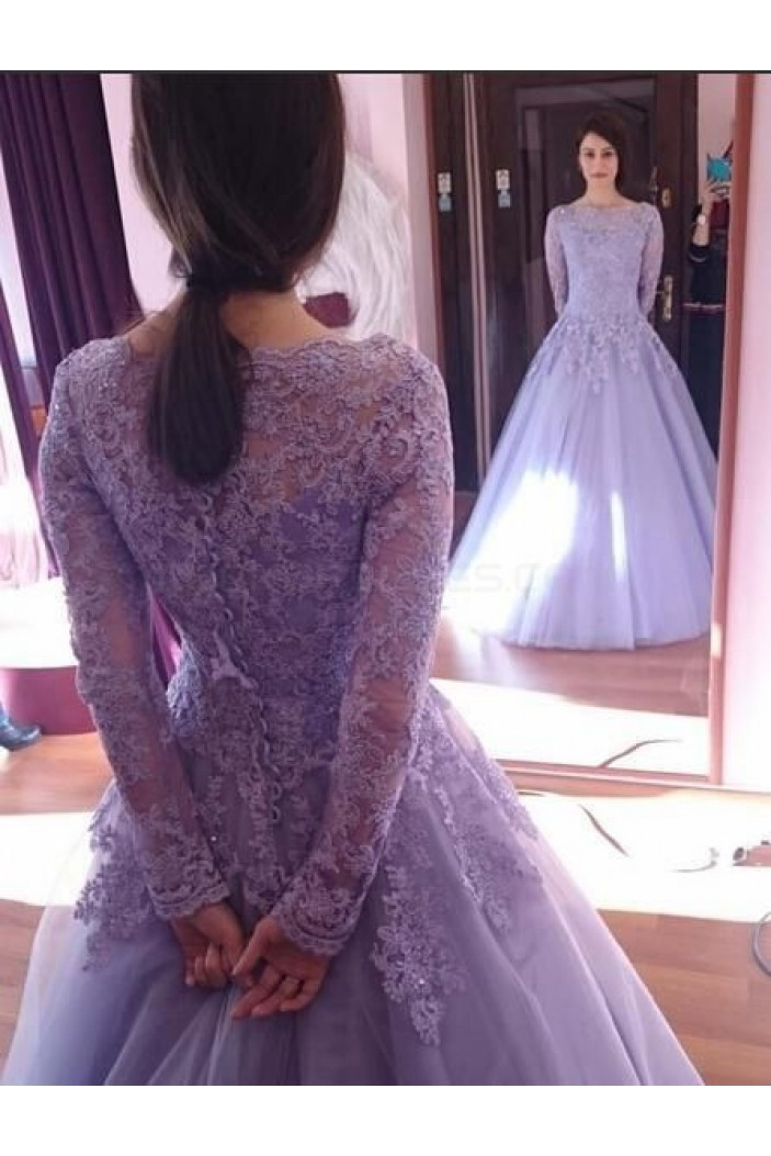Ball Gown Purple Long Sleeves Lace Prom Formal Evening Party Dresses 3021491