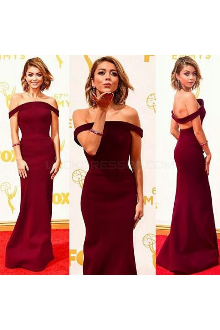 Mermaid Off-the-Shoulder Burgundy Prom Formal Evening Party Dresses 3021492