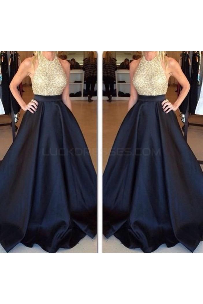 A-Line Halter Long Black Prom Formal Evening Party Dresses 3021493