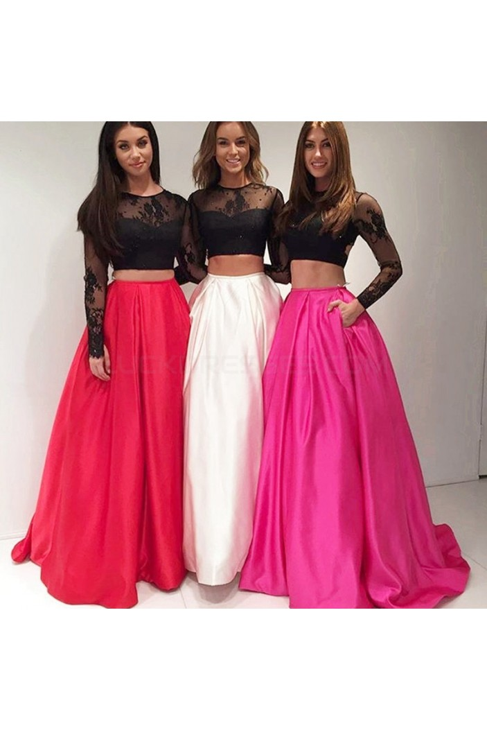 Two Pieces Long Sleeves Lace Prom Formal Evening Party Dresses 3021494