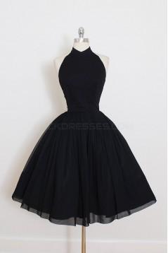 Short Black Halter Prom Homecoming Cocktail Graduation Dresses 3021498