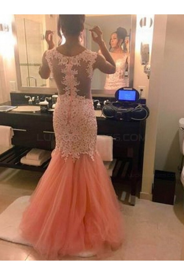 Mermaid Lace and Tulle Long Prom Evening Formal Dresses 3020150