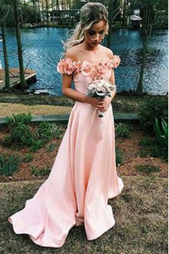 A-Line Off-the-Shoulder Prom Formal Evening Party Dresses with Handmade Flowers 3021502