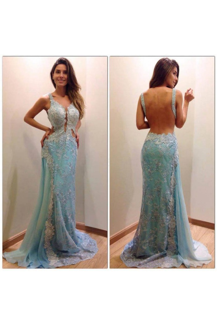 Long Blue Lace Backless Prom Formal Evening Party Dresses 3021509