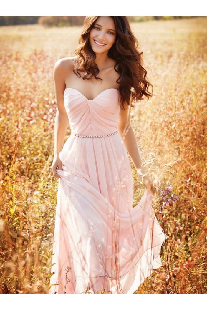 Long Pink Sweetheart Chiffon Bridesmaid Prom Evening Formal Dresses 3020151