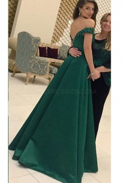 Long Green Off-the-Shoulder Prom Formal Evening Party Dresses 3021510