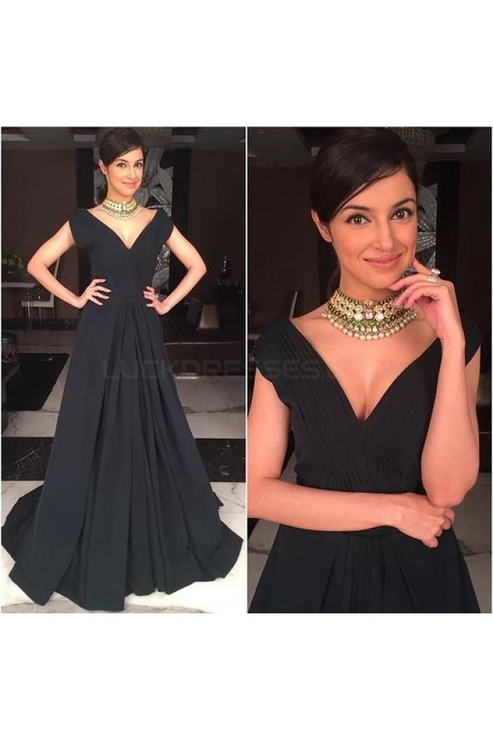 Long Black V-Neck Prom Formal Evening Party Dresses 3021511