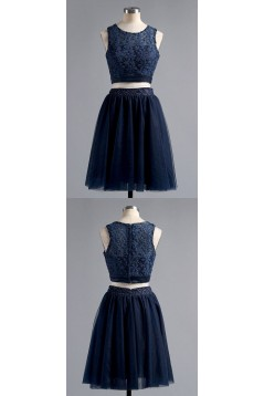 Short Navy Blue Two Pieces  Lace Prom Homecoming Cocktail Graduation Dresses 3021512