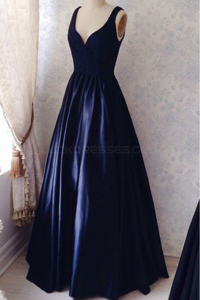 Long Blue Lace Satin V-Neck Prom Formal Evening Party Dresses 3021513