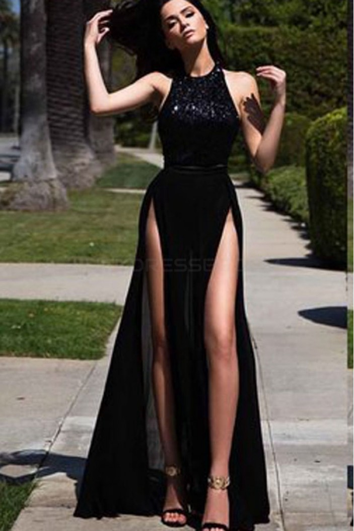 Sexy Long Black Prom Formal Evening Party Dresses 3021516