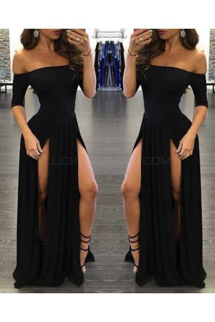 Sexy Long Black Prom Formal Evening Party Dresses 3021520