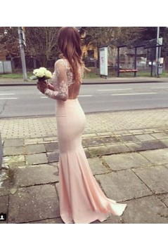 Mermaid Long Sleeves Lace Prom Formal Evening Party Dresses 3021522