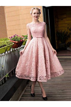 Pink Lace Prom Homecoming Cocktail Graduation Dresses 3021524