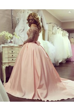 Ball Gown Off-the-Shoulder Long Sleeves Lace Prom Formal Evening Party Dresses 3021525