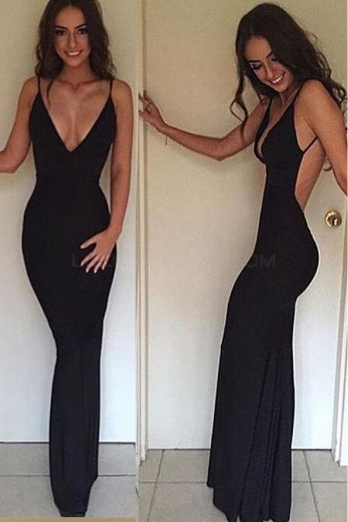Sexy Long Black Mermaid V-Neck Prom Formal Evening Party Dresses 3021526
