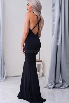 Sexy Long Black Mermaid Spaghetti Straps Prom Formal Evening Party Dresses 3021527