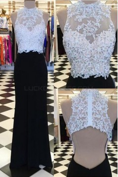 Long Black White Beaded Lace Prom Formal Evening Party Dresses 3021528