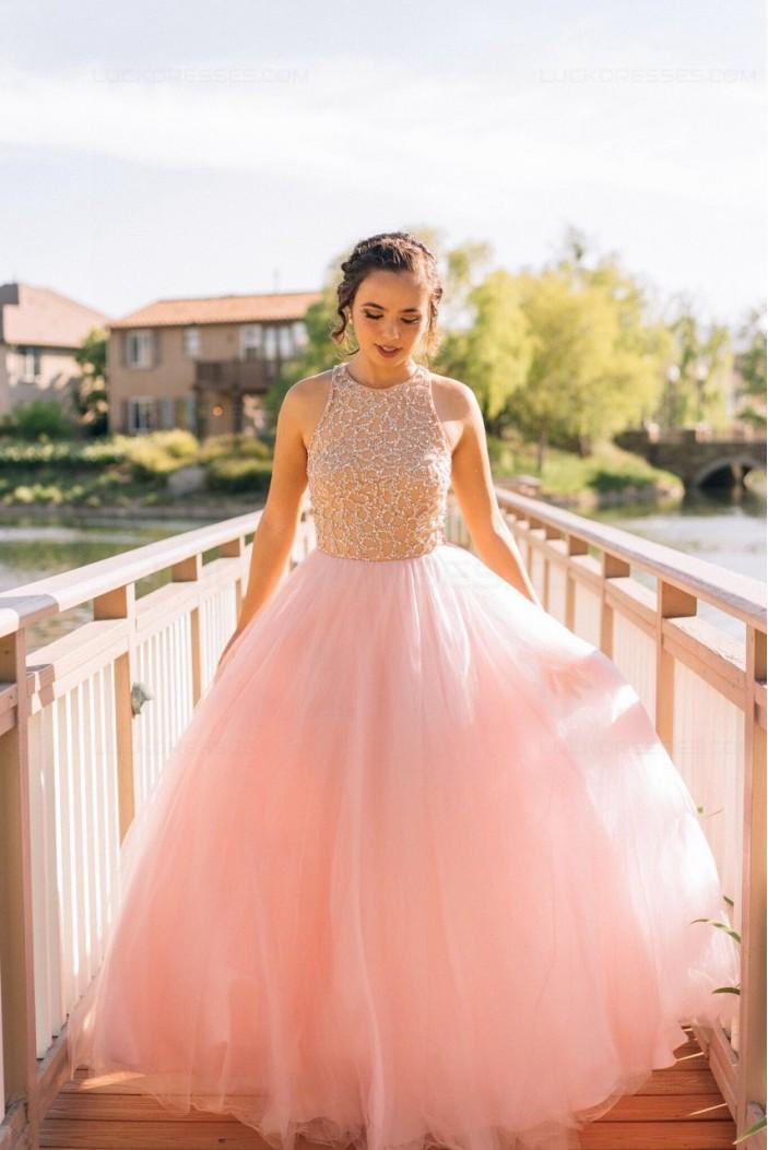 Long Pink Sleeveless Prom Evening Formal Dresses 3020153