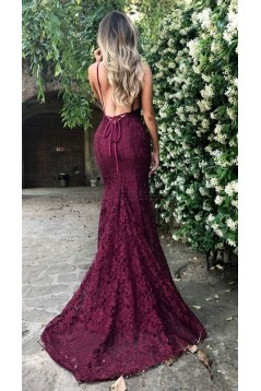 Mermaid V-Neck Lace Long Prom Dresses Evening Gowns 3021533