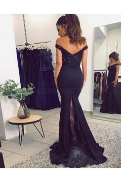 Mermaid Lace Prom Dresses Long Off-the-Shoulder Evening Party Dresses 3021535