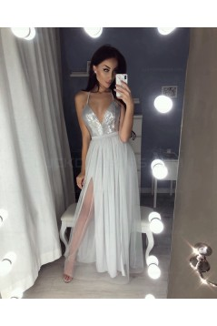 Sexy V-Neck Sequins and Tulle Prom Evening Party Dresses 3021540