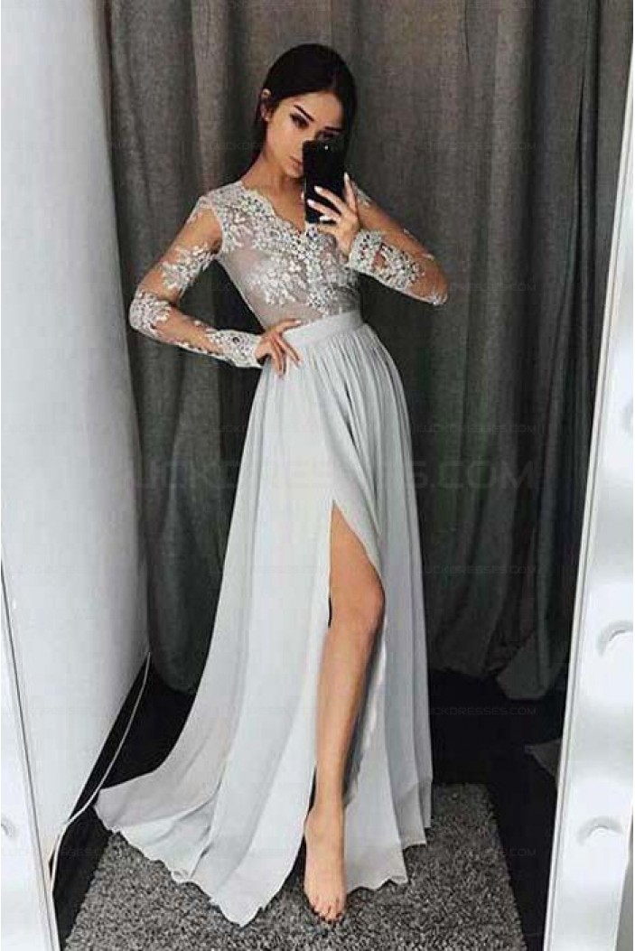 Long Sleeves V-Neck Lace Prom Evening Formal Dresses with Side Slit 3021546