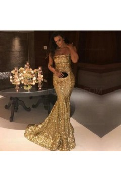 Mermaid Strapless Sequins Long Prom Evening Formal Dresses 3021548
