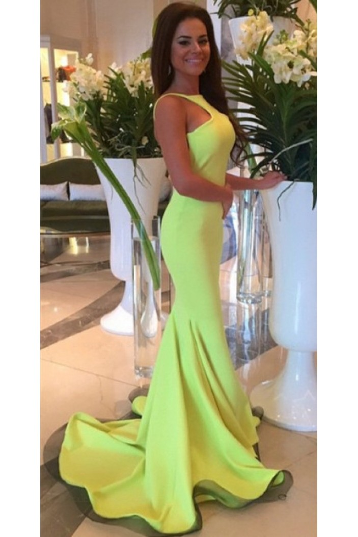 Trumpet/Mermaid Backless Long Prom Evening Formal Dresses 3020155