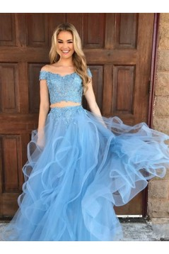 Two Pieces Off-the-Shoulder Lace Appliques and Tulle Prom Evening Formal Dresses 3021550