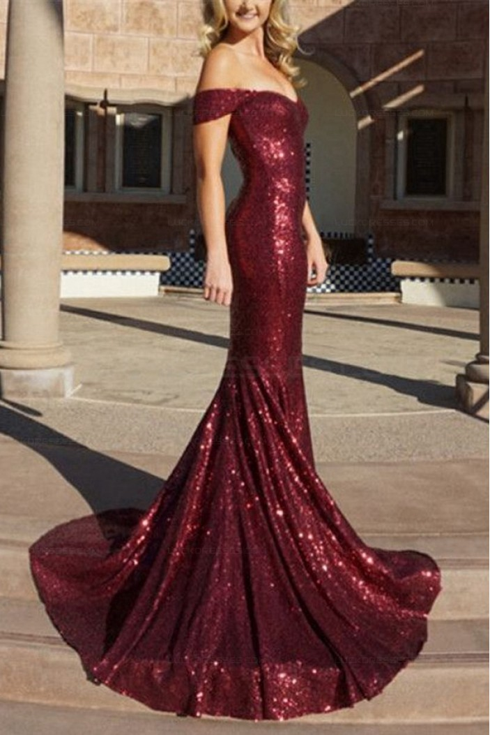 Mermaid Off-the-Shoulder Sequins Long Prom Evening Formal Dresses 3021551